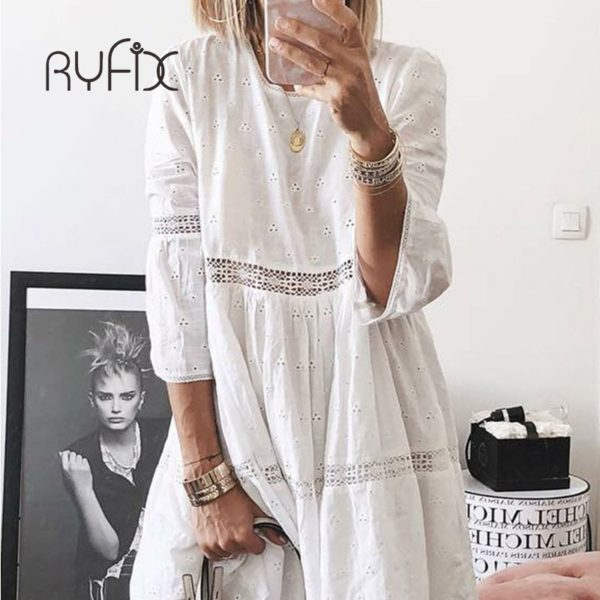 5XL 2021 New Women Elegant Embroidered Lace Dress White Female Splicing Dress Floral Hollow Out Loose Casual Party Vestidos BG74