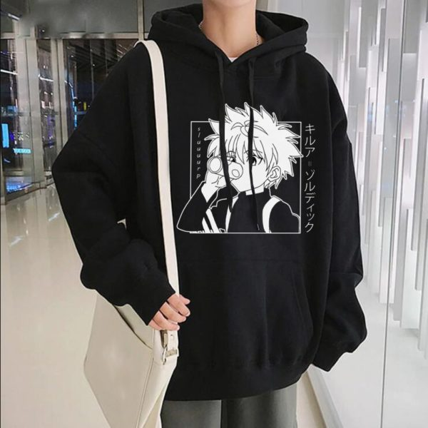 Japanese Anime Funny Killua Eyes Killua HxH Hoodies 2020 Winter Japan Style Hunter X Hunter Sweatshirts Streetwear for Women/men
