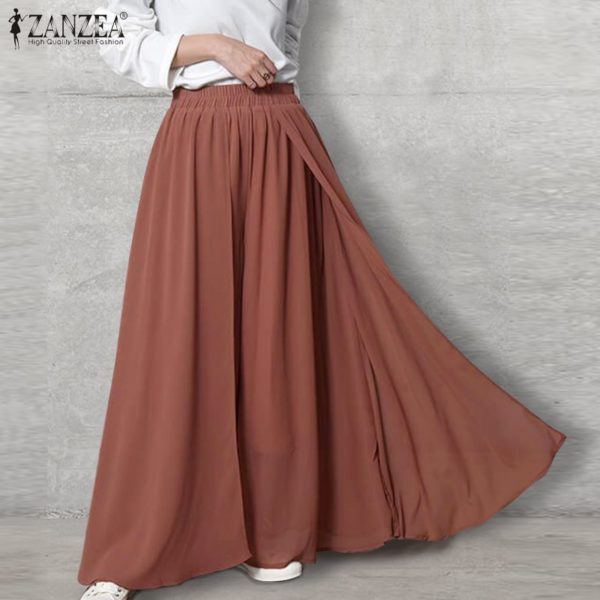 Stylish Women's Wide Leg Pants ZANZEA 2021 Solid Culottes Trousers Elastic Waist Long Pantalon Palazzo Female Turnip Plus Size